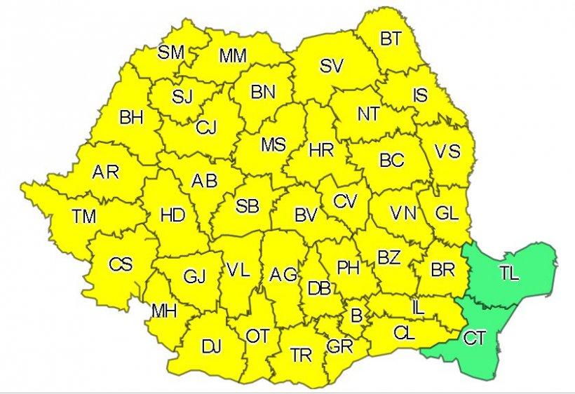 Cod galben de averse torenţiale, vijelii şi grindină în toată ţara. Avertizarea e valabilă până miercuri seara 16