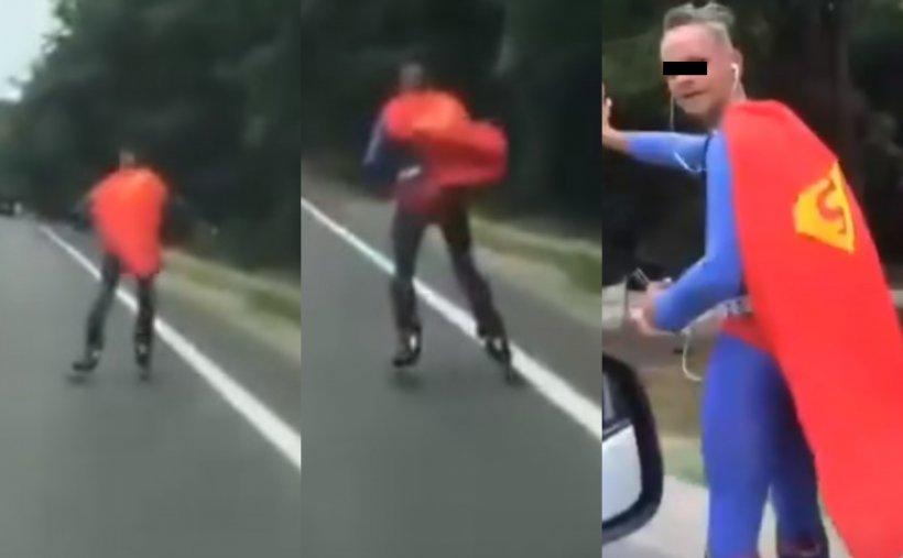 """Superman, oprit în trafic de polițiștii din Iași. """"Zbura"""" prea jos - VIDEO"""