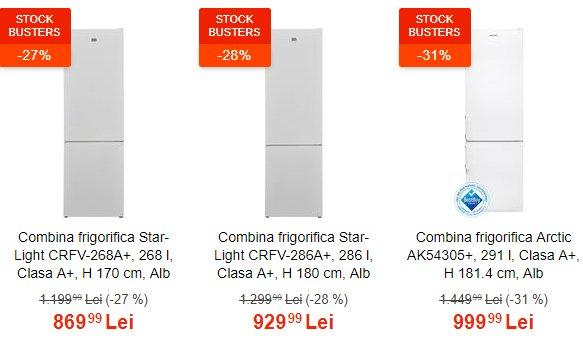Stock Busters eMAG. TOP 10 combine frigorifice pe care să le cauți în ofertă
