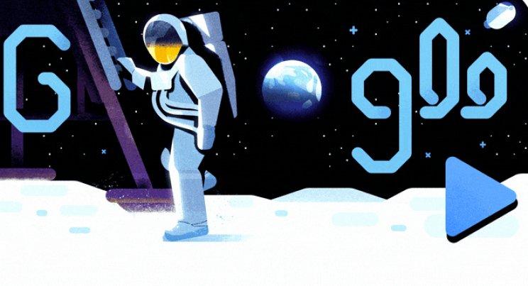 MISIUNEA SPAȚIALĂ APOLLO 11, celebrată de GOOGLE printr-un Doodle dedicat. 50 de ani de la primul pas pe Lună