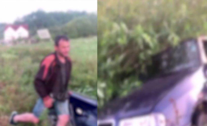 Un şofer beat criţă a provocat un accident și ajuns cu maşina în câmp. Prima lui reacție - VIDEO