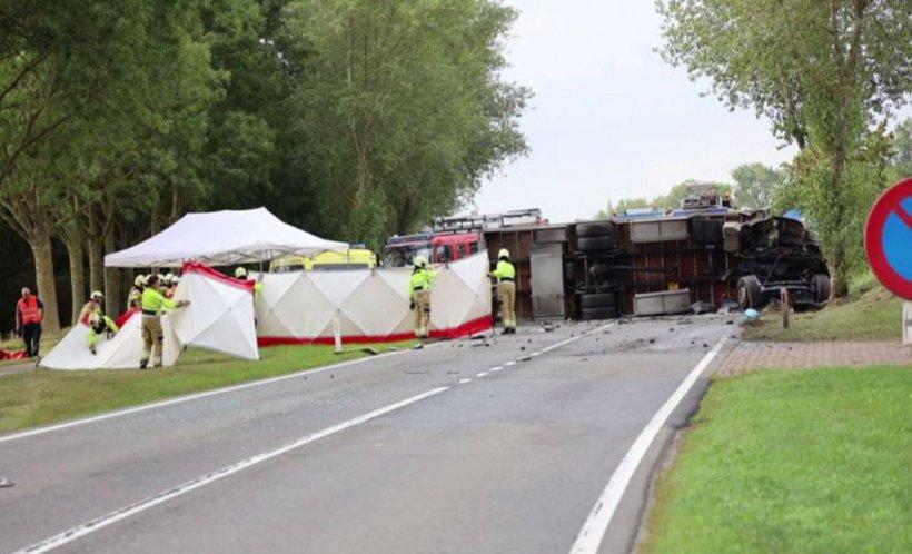 Primele imagini de la accidentul cetăţeanului olandez suspectat de uciderea fetiţei din Dâmboviţa