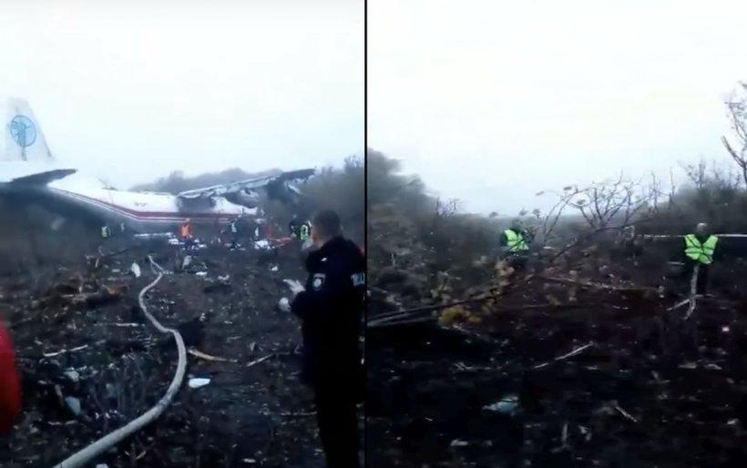 Avion prăbușit la aterizare, în Ucraina. Sunt cel puțin patru morți. IMAGINI de la locul tragediei