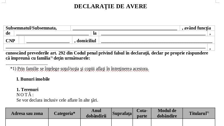 Propunere-șoc: Toți românii ar trebui să depună o declarație de avere
