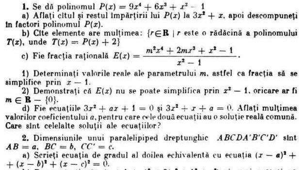 """Cum arătau subiectele la matematică pentru admiterea la liceu în 1985. """"Elevii de 10 la Evaluarea Naţională n-ar fi luat nici 5"""""""