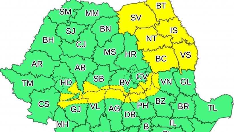 Cod galben de ninsori puternice în mai multe județe ale țării. Vremea se schimbă radical