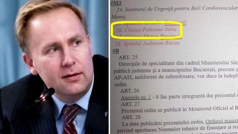 Salariul ministrului Sănătății la clinica privată din Sibiu, la care susține că operează gratis. Documente oficiale care intră în contradicție cu atribuțiile legale ale ministrului Victor Costache