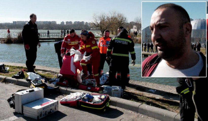 Un taximetrist din Constanţa a salvat un copil şi un bătrân din maşina scufundată în lacul Tăbăcărie