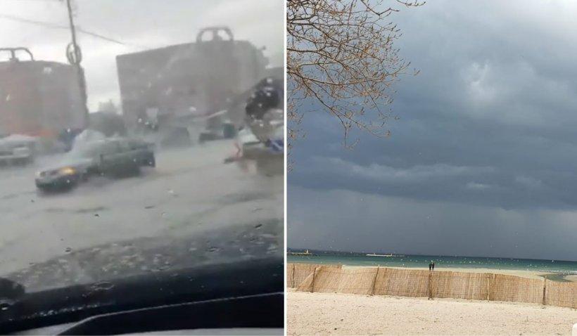 Ploi torenţiale, grindină şi localităţi inundate, după o furtună puternică în Constanţa