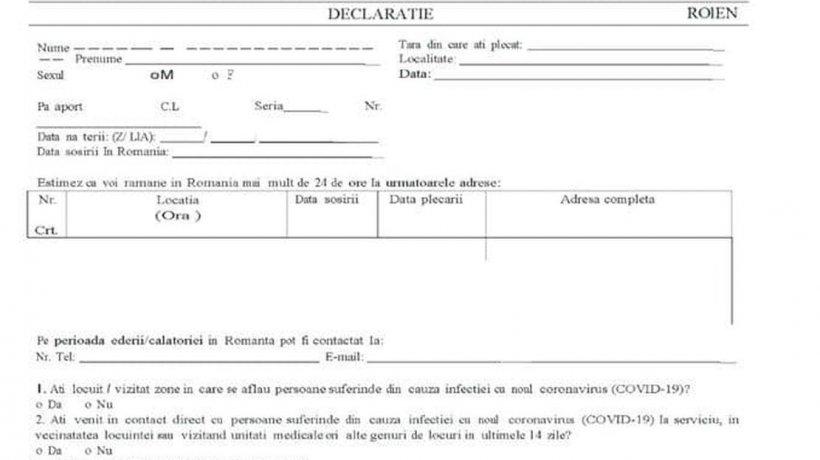 Cum arată declarația pe care toți românii trebuie să o completeze la intrarea în țară