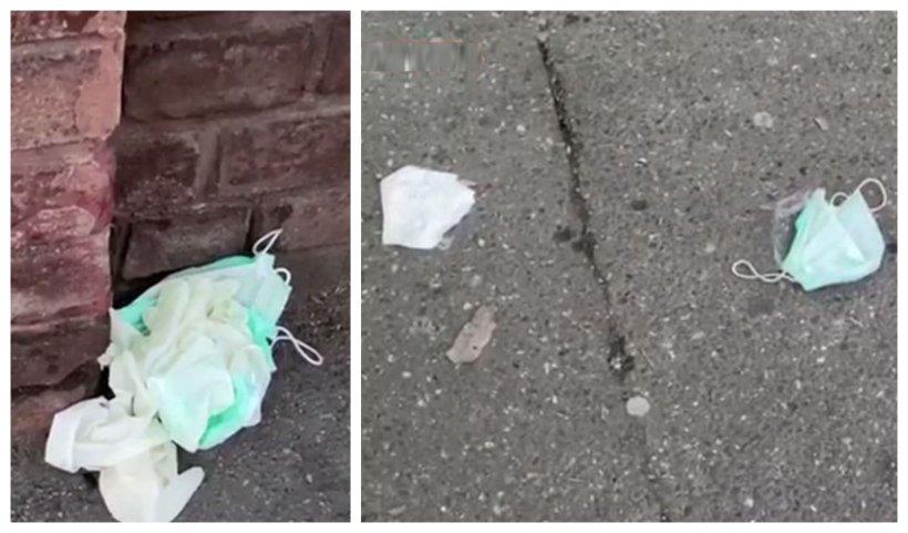 """""""Bombă epidemiologică"""" în faţa Institutului Balş, din Capitală. Oamenii au aruncat pe jos măştile de protecţie purtate în spital"""