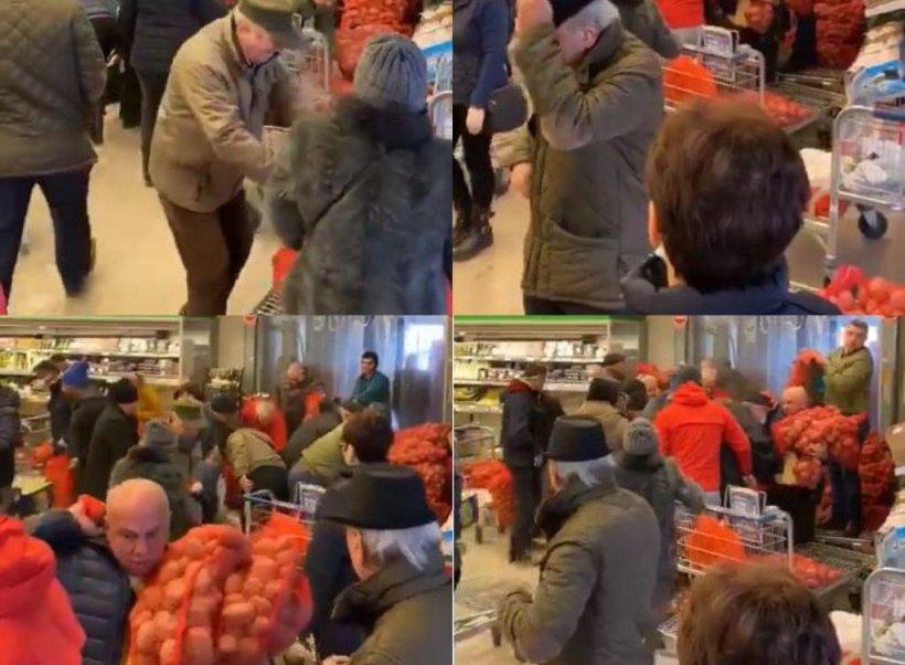 Bătaie pe sacii de cartofi, într-un hipermarket din Contanța. Imaginile au devenit virale