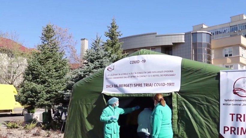 Sute de oameni, triaţi în faţa Spitalului Militar