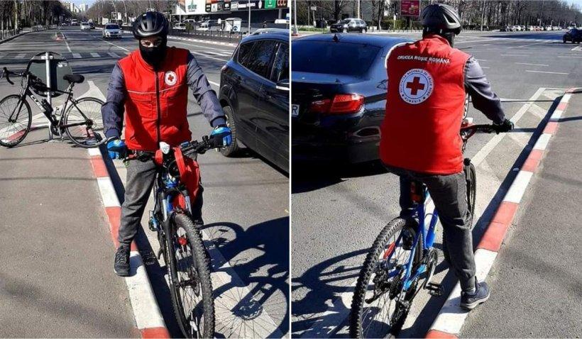 Un biciclist din Constanța face cumpărături gratis pentru oamenii izolați la domiciliu