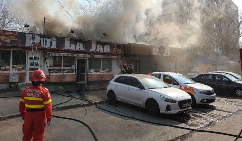 Incendiu puternic la restaurantul 'Pui la Jar' din Galați