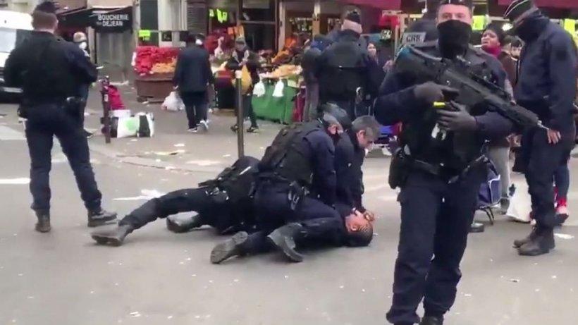 O femeie din Franţa a fost pusă la pământ, după ce a refuzat să prezinte documentul prin care îşi explică ieşirea în stradă - VIDEO