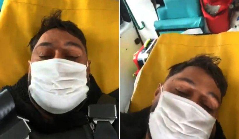 Român suspect de coronavirus, live pe Facebook din ambulanță: 'Moare lumea pe carantină'