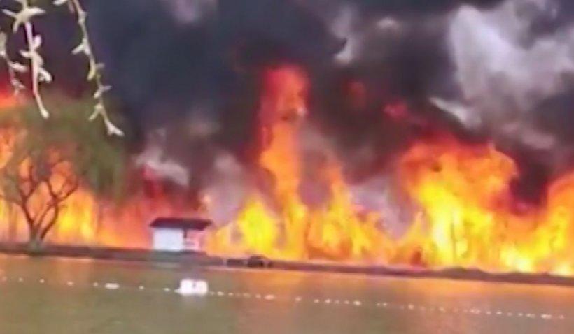 Incendiu izbucnit la Lacul 5 Lazuri, Dâmbovița. Focul ar fi fost pus intenționat