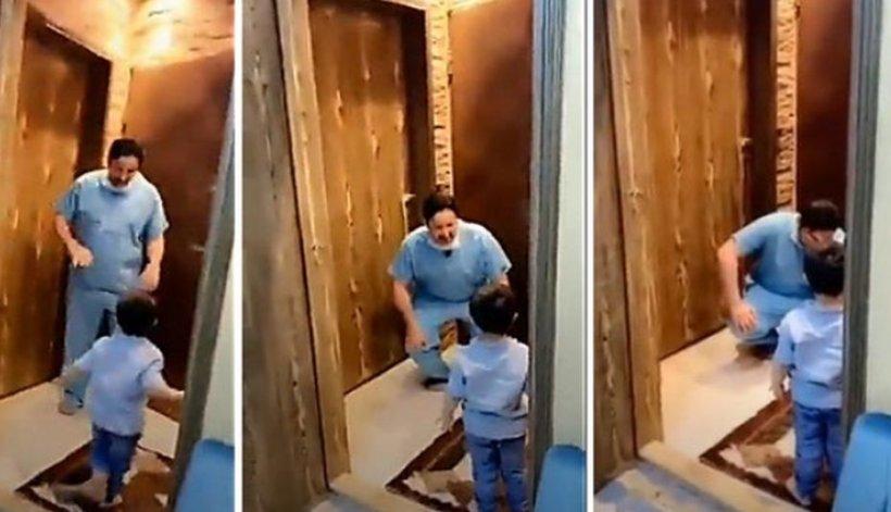 Un doctor a izbucnit în lacrimi, după ce a fost nevoit să refuze îmbrățișarea fiului său - VIDEO