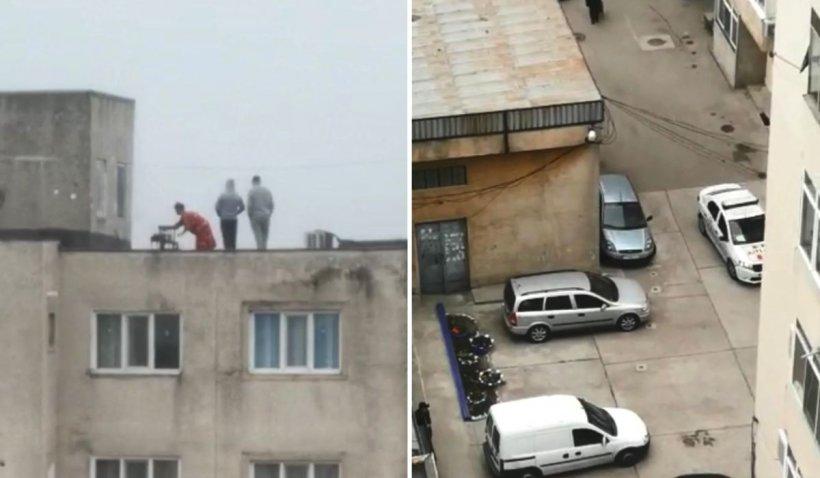 Mai mulți tineri au făcut grătar pe un bloc din Alexandria, în timp ce Poliția patrula în cartier
