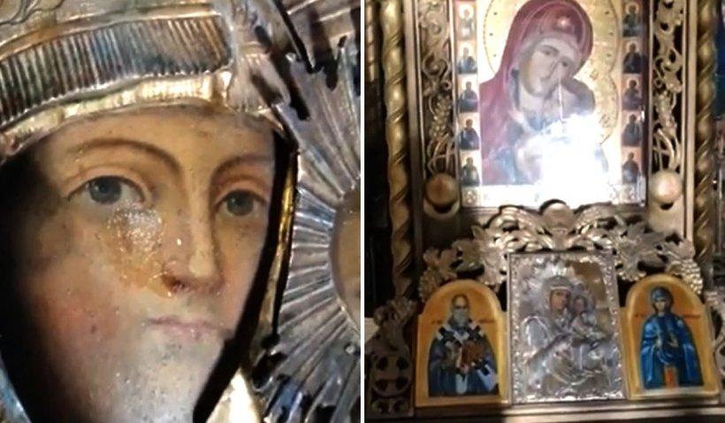 Icoana făcătoare de minuni a Maicii Domnului, de la Biserica Hagiu, din București, a plâns cu lacrimi de mir