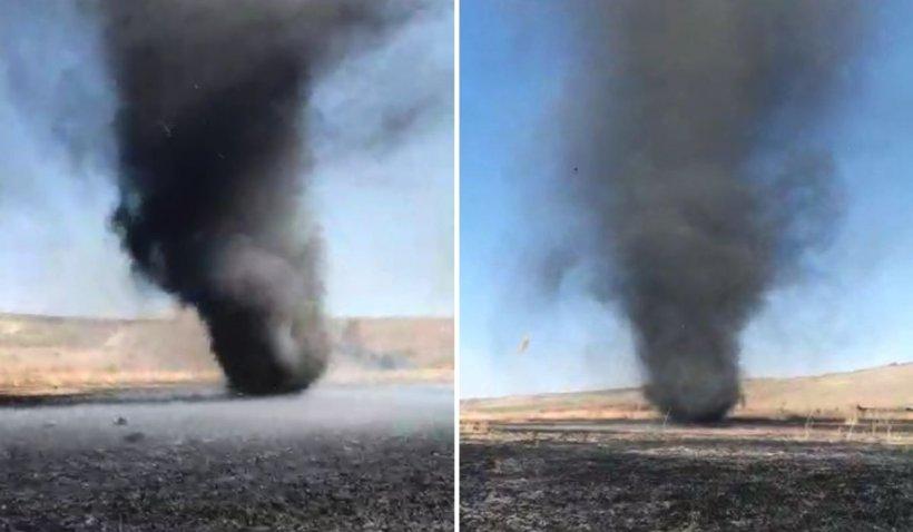 Tornadă de fum filmată în Vaslui, după un incendiu uriaș la Moara Domnească