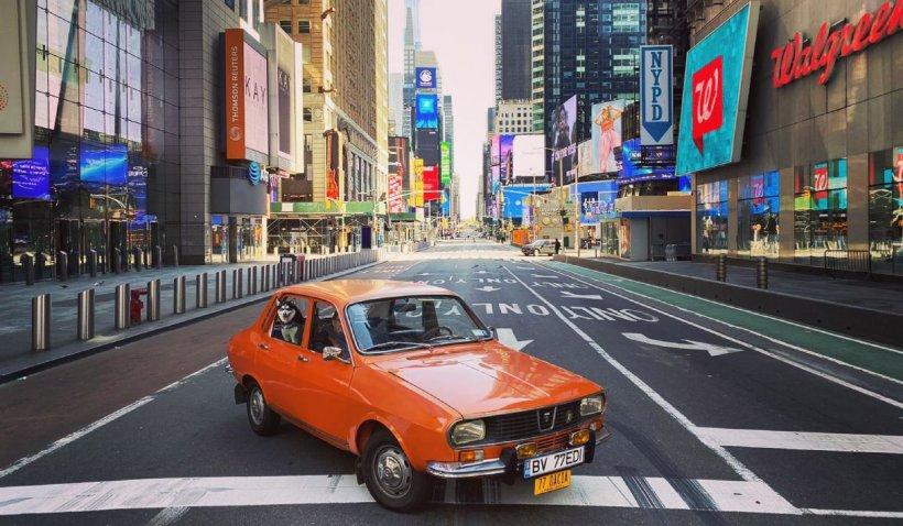 Dacia 1300 din 1977, vedetă pe străzile pustii din New York în plină pandemie de coronavirus