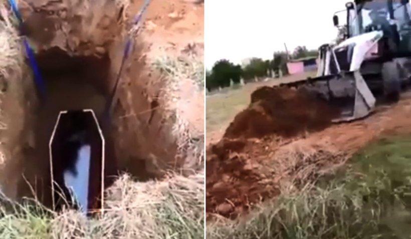 Bătrână ucisă de coronavirus, înmormântată cu buldoexcavatorul în Jiana, Mehedinți