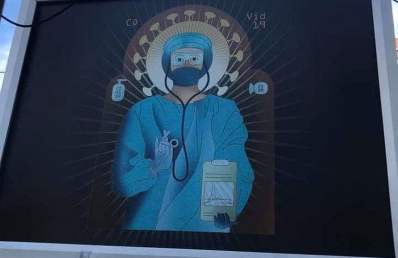 Biserica, scandalizată de panourile cu medici în chip de sfinţi: E blasfemie şi prost gust