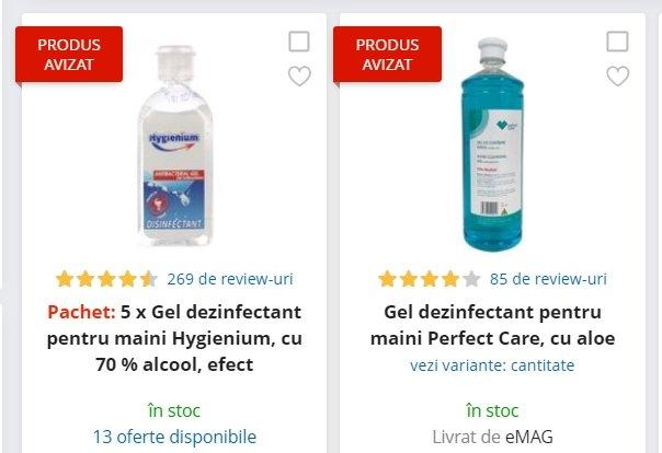 eMAG reduceri. 4 geluri dezinfectante cu 70% alcool, la prețuri foarte bune