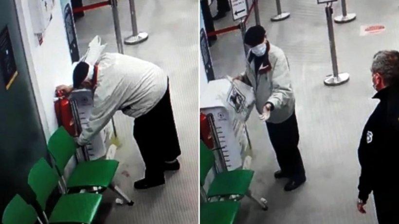 Un bătrânel, surprins de camera de supraveghere a unei farmacii în timp ce folosea extinctorul pe post de dezinfectant (VIDEO)