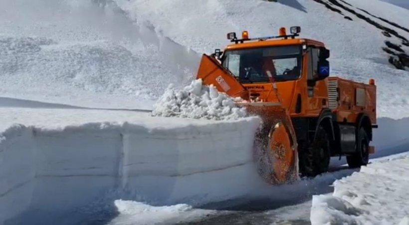 Deszăpezire în forţă pe Transalpina. În unele zone, stratul de zăpadă depăşeşte doi metri (Video)