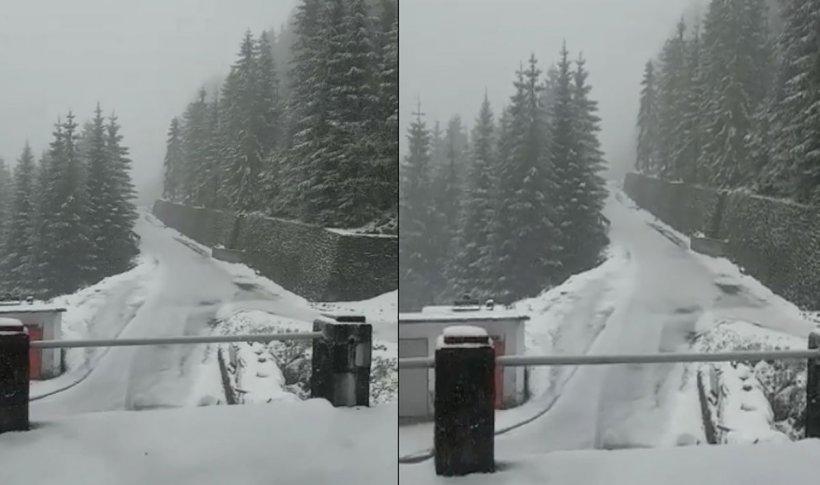 Ninge pe Transfăgărăşan, la Bâlea Lac. Ninsori și viscol la munte