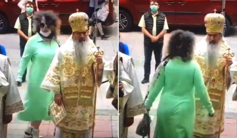 Ritual dubios la Arhiepiscopia Tomisului. O credincioasă a început să se învârtă în jurul ÎPS Teodosie, în timpul slujbei