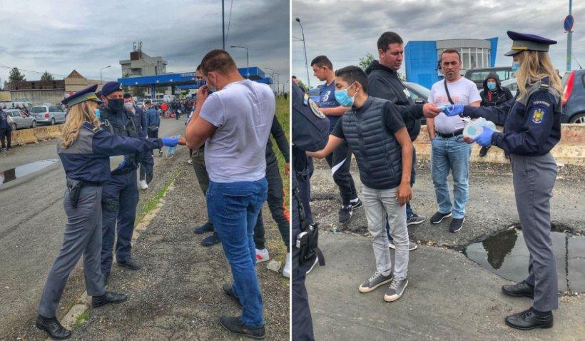 8.000 de români, trimiși în izolare după ce au intrat în țară. Polițiștii le-au oferit măști de protecție