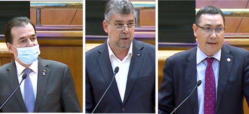 """Scandal în ședința Parlamentului, după ce Marcel Ciolacu și Victor Ponta au refuzat să poarte masca. Orban: """"Ei se consideră deasupra legii"""""""