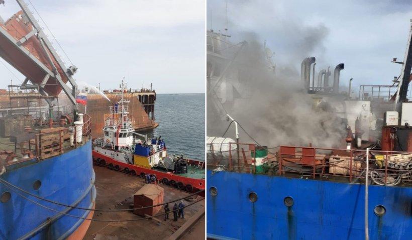 Incendiu la o navă aflată în Portul Midia Năvodari
