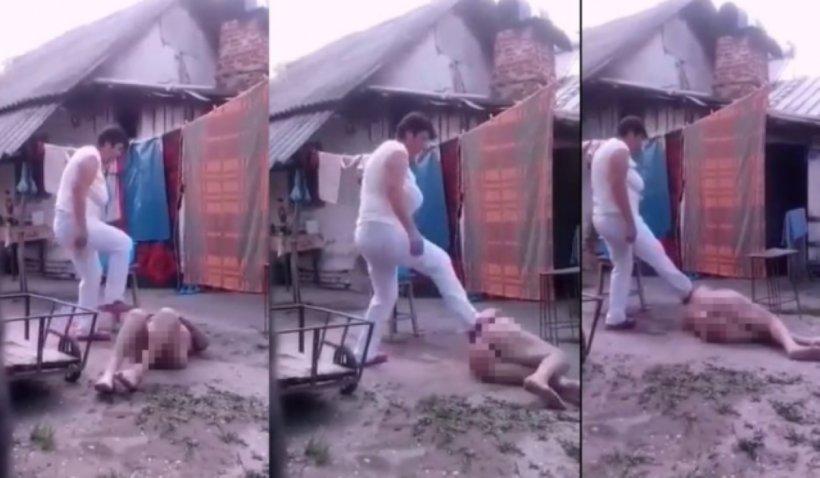 Imagini cu puternic impact emoțional. Bătrână dezbrăcată, târâtă prin noroi și agresată, într-o curte din România