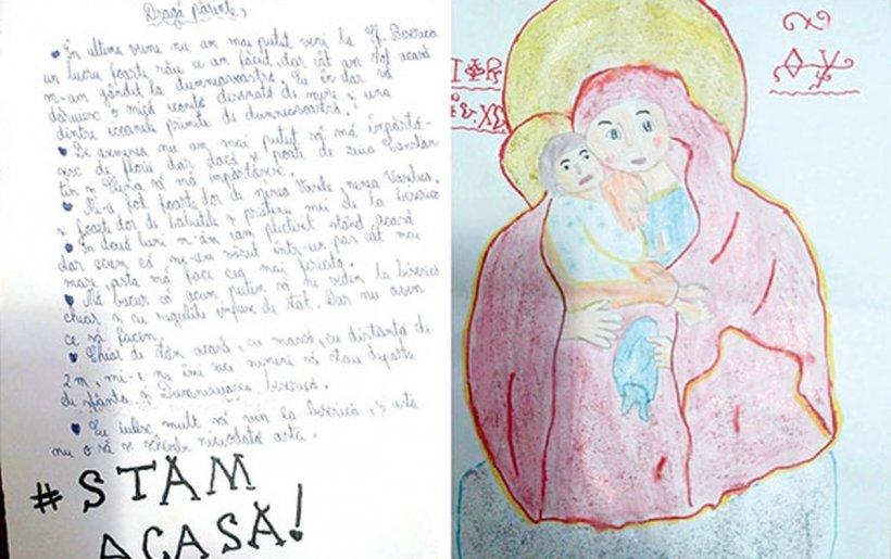 La 11 ani, Crina i-a scris preotului din Huşi: Chiar dacă stăm acasă, cu mască, cu distanța de doi metri, mie nu-mi zice nimeni să stau departe de Sfânta Biserică