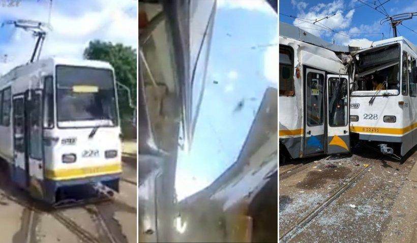 Filmul accidentului cu două tramvaie din București. Impactul, surprins de o cameră de supraveghere