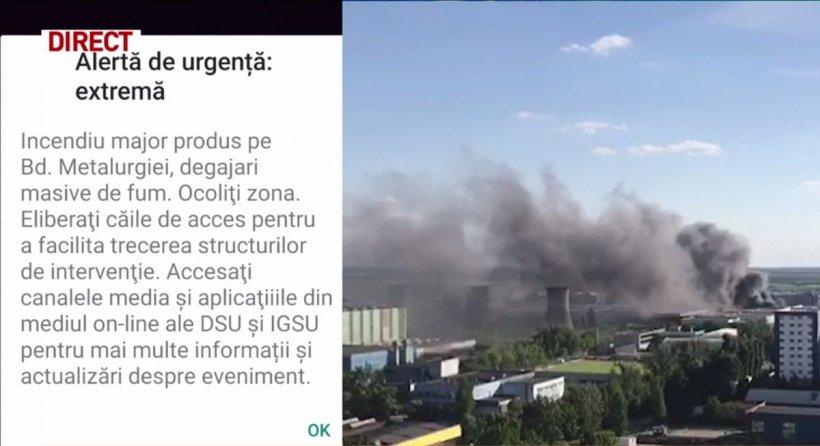 Mesaj Ro-Alert, în cazul incendiului din București: Ocoliți zona din Bulevardul Metalurgiei
