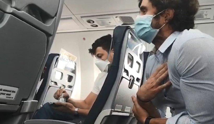 Scandal într-un avion, între un medic grec și un român care a refuzat să poarte mască de protecție