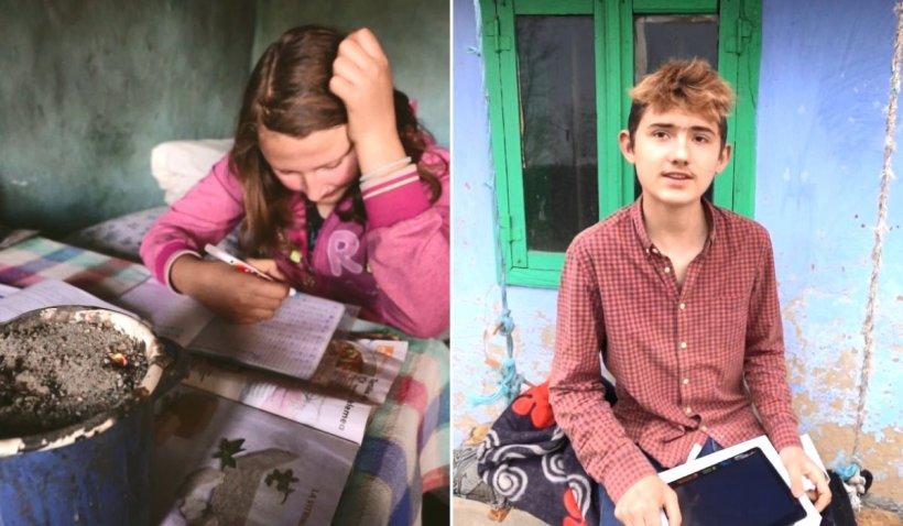 Elena și Sebi, copiii care învață la lumânare, au impresionat o Românie întreagă