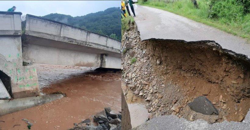 Ploile torențiale și vijeliile au făcut prăpăd în țară. Un drum național a fost rupt de viitură
