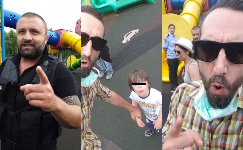 Familie cu doi copii cu sindrom Down, scandal uriaș live pe Facebook cu un polițist local într-un parc
