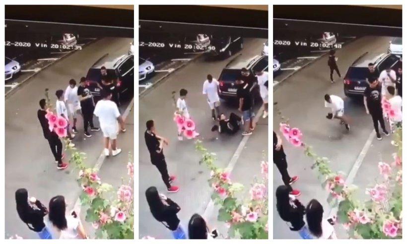 EXCLUSIV. Imagini șocante surprinse în apropierea unui parc din Capitală! Adolescent de 12 ani, lăsat cu nasul spart și plin de sânge de partenerii de joacă