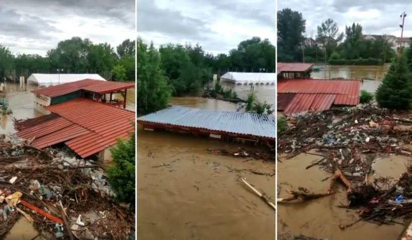 Viitură devastatoare pe râul Timiș, după ploile torențiale: 'E dezastru total. Îmi e frică. Când privești îți vine să leșini!'
