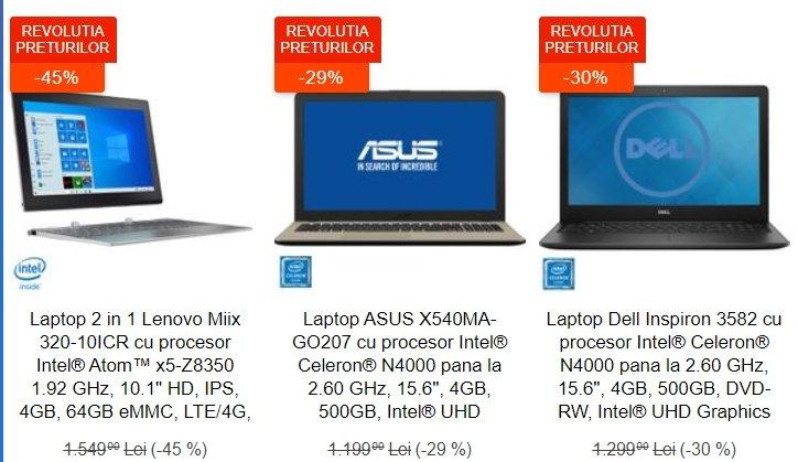 eMAG reduceri. 3 laptopuri excelente, sub 1.000 de lei