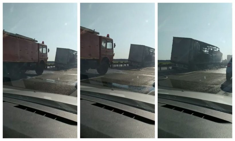 Două tiruri s-au ciocnit pe Autostrada Soarelui. Unul din ele a luat foc în urma impactului puternic