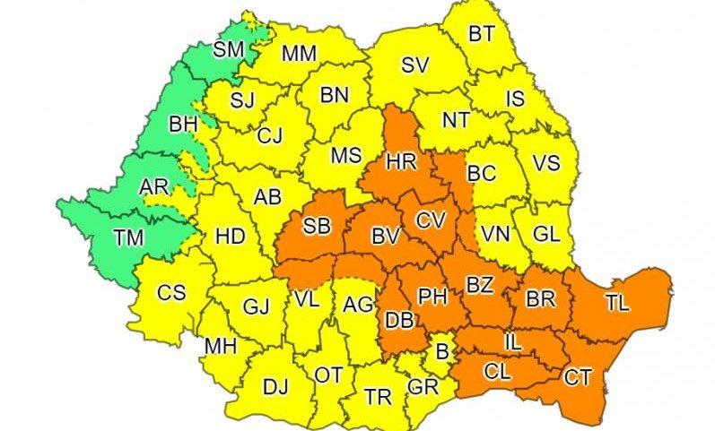ALERTĂ METEO. Cod ROȘU de vreme severă în Constanța, cod Portocaliu de vijelii în centrul și sud-estul țării